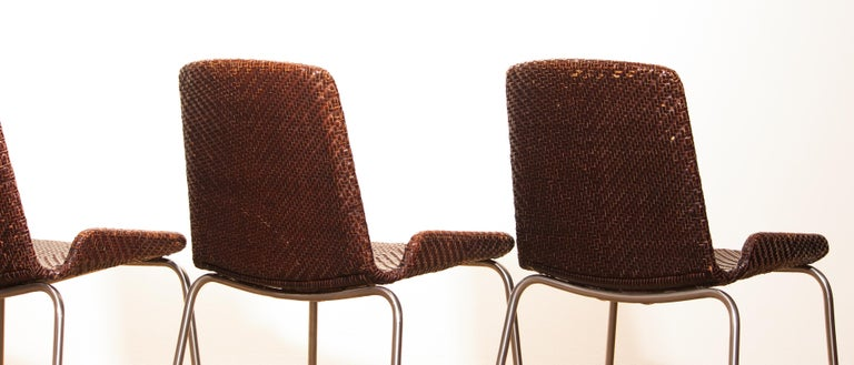 1960s, Set of Four Leather Braided Dining Chairs, Italy For Sale 7