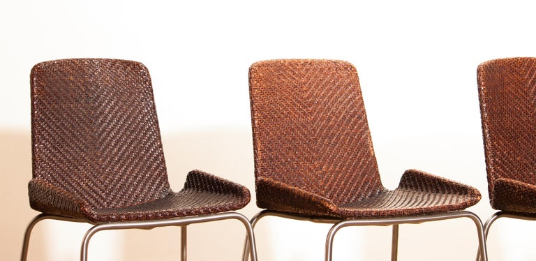 1960s, Set of Four Leather Braided Dining Chairs, Italy For Sale 9