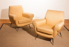 1950s, Brass and Golden Jacquard Set Lounge Chairs by Gigi Radice for Minotti
