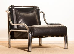 1960s, Leather and Chrome Lounge Chair by Gae Aulenti for Poltronova