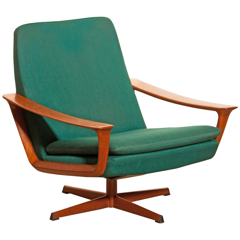1960s, Teak Swivel Chair by Johannes Andersen for Trensum Denmark