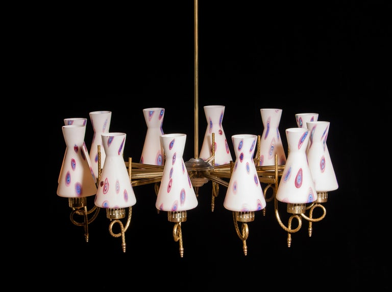 Mid-20th Century 1940s Beautiful Large Brass and Multicolored Murano Venini Glass Chandelier For Sale