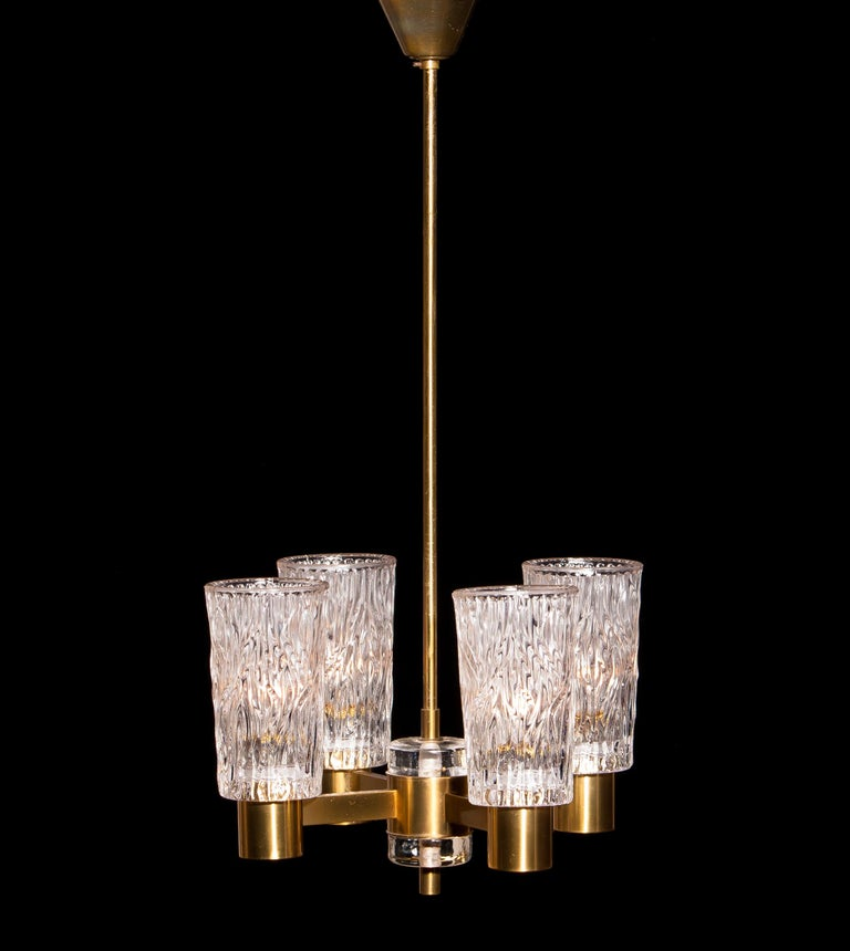 Swedish 1950s, Brass and Crystal Glass Chandelier by Orrefors Sweden For Sale