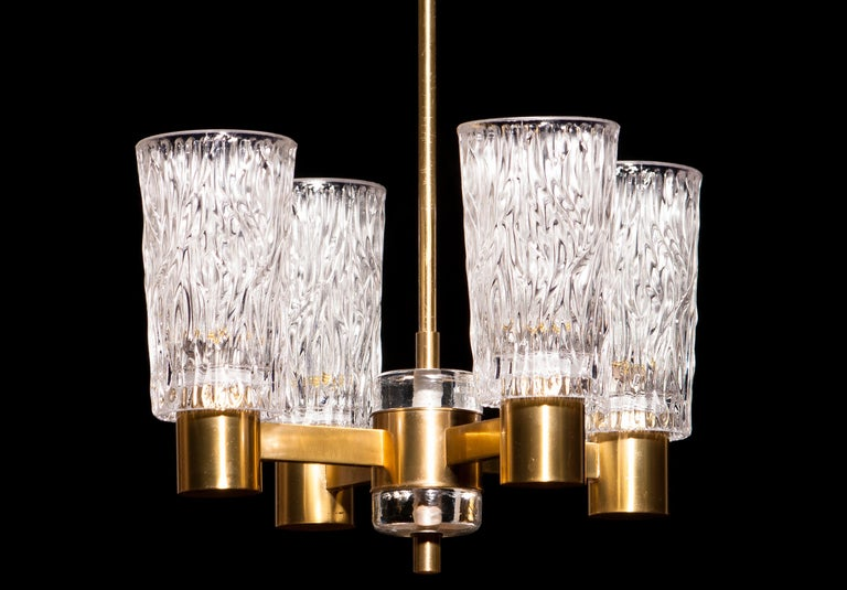 1950s, Brass and Crystal Glass Chandelier by Orrefors Sweden For Sale 2