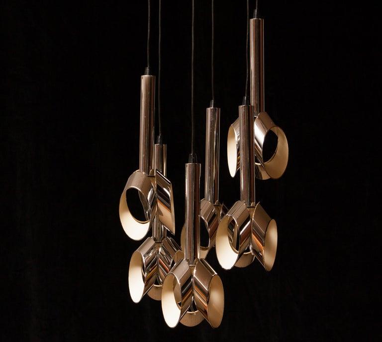 1960s, Chromed Metal Ceiling Lamp RAAK, Amsterdam For Sale 1