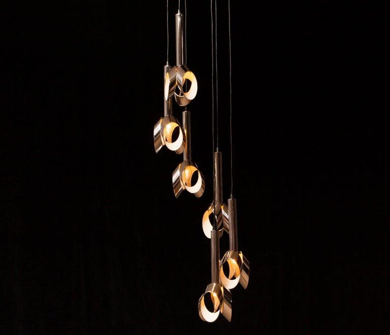 Dutch 1960s, Chromed Metal Ceiling Lamp RAAK, Amsterdam For Sale