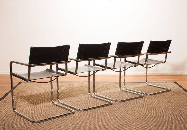 Tubular Steel Chrome and Sturdy Black Leather Dining Chairs by Matteo Grassi For Sale 1
