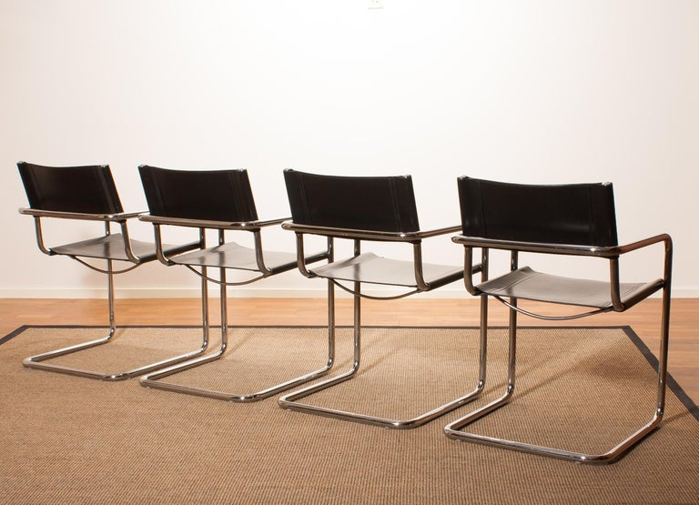 Tubular Steel Chrome and Sturdy Black Leather Dining Chairs by Matteo Grassi For Sale 2