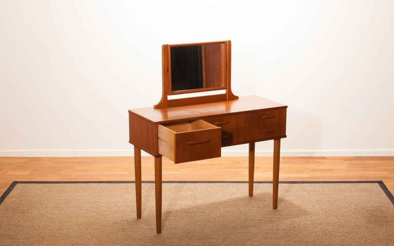Glass 1950s Beautiful Teak Dressing Table by Ulferts, Sweden For Sale