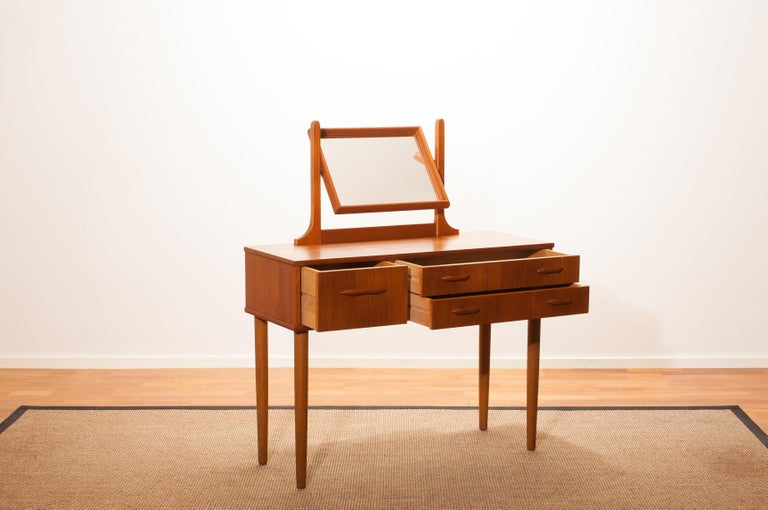 Mid-20th Century 1950s Beautiful Teak Dressing Table by Ulferts, Sweden For Sale