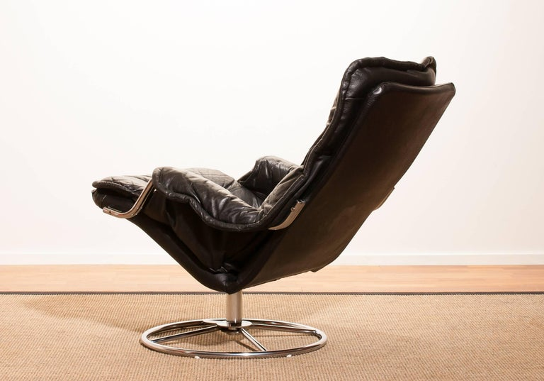 Late 20th Century 1970s Black Leather Swivel Chrome Steel Lounge Chair, Sweden For Sale