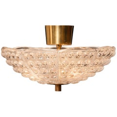 1960s, Crystal and Brass Ceiling Light by Carl Fagerlund for Orrefors