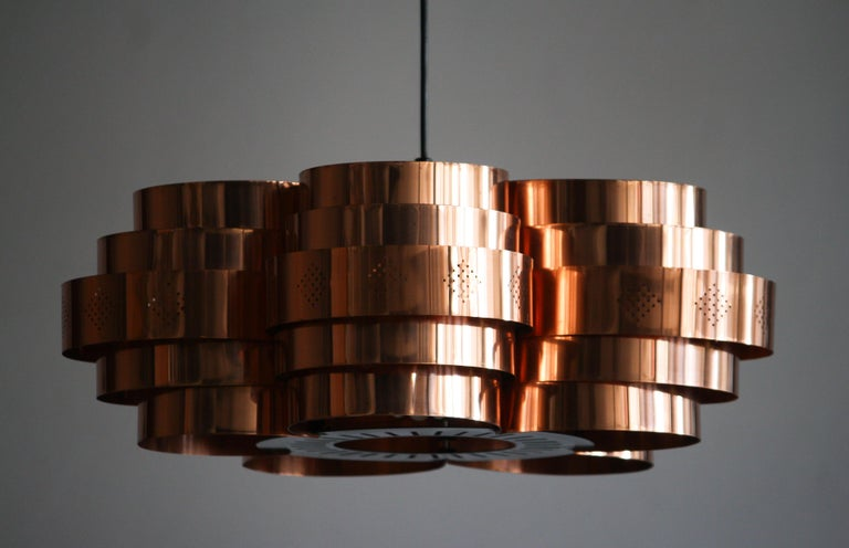 Beautiful copper pendant designed by Verner Schou and manufactured by Coronell Elektro, Denmark.