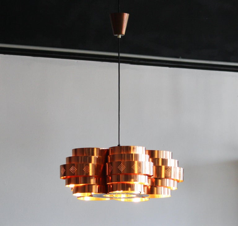 Danish Copper Pendant Light by Verner Schou for Coronell Elektro, 1960s For Sale