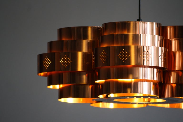 Copper Pendant Light by Verner Schou for Coronell Elektro, 1960s In Excellent Condition For Sale In Silvolde, Gelderland