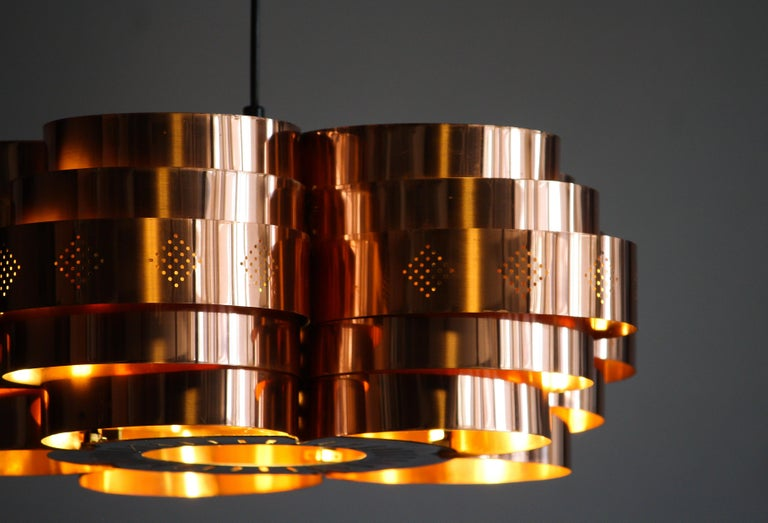 Mid-20th Century Copper Pendant Light by Verner Schou for Coronell Elektro, 1960s For Sale
