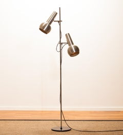 1970s, Chrome and Aluminium Double Shade Floor Lamp by Koch & Lowy