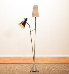 Midcentury Floor Lamp by Hans Bergström for Ataljé Lyktan in Brass / Metal