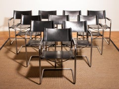 1970s, Set of Ten Tubular Steel and Leather Dining Chairs by Matteo Grassi