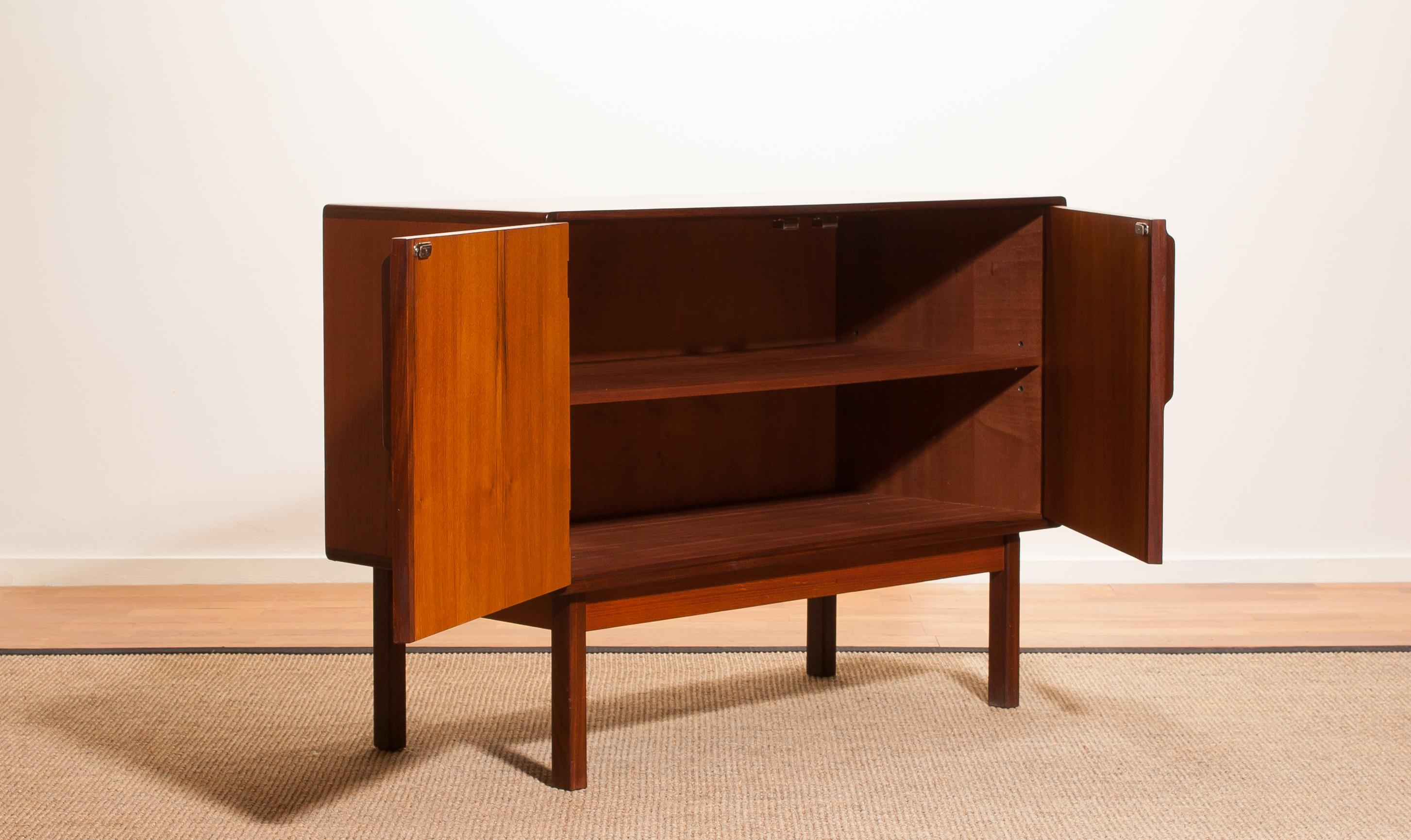 1960s, Teak And Palisander Small Sideboard Cabinet By Asko Finland For Sale  1