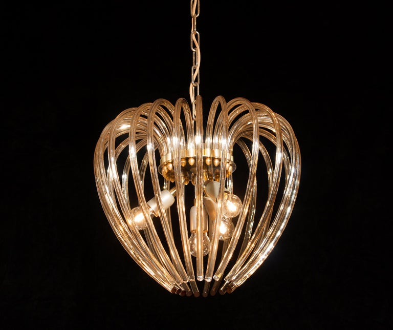 Gilt Italy 1960s Partly Gilded and Brass and Crystal Venini Murano Pendant Chandelier For Sale