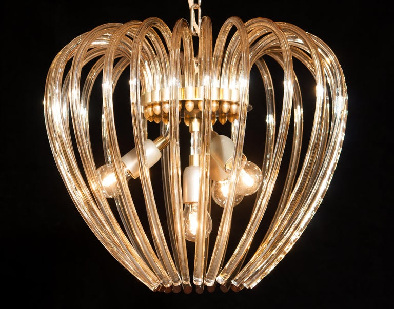 Italy 1960s Partly Gilded and Brass and Crystal Venini Murano Pendant Chandelier In Excellent Condition For Sale In Silvolde, Gelderland