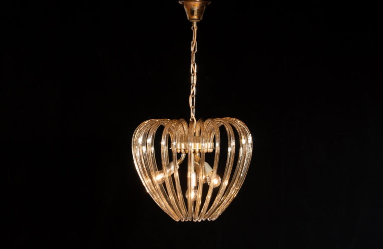 Italy 1960s Partly Gilded and Brass and Crystal Venini Murano Pendant Chandelier For Sale 1