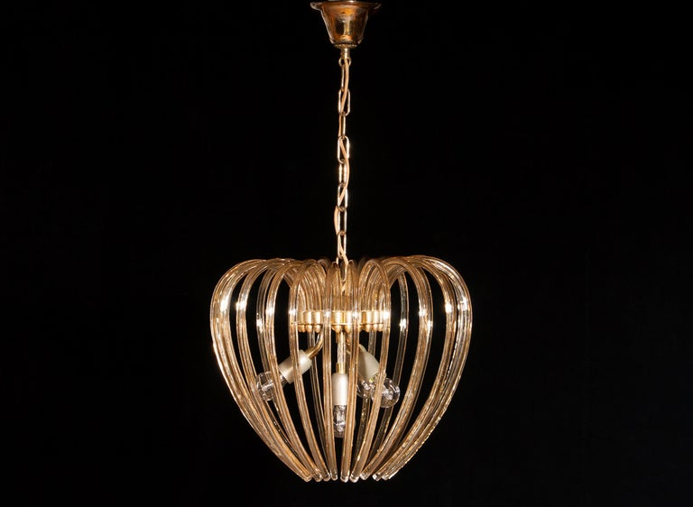 Italy 1960s Partly Gilded and Brass and Crystal Venini Murano Pendant Chandelier For Sale 3