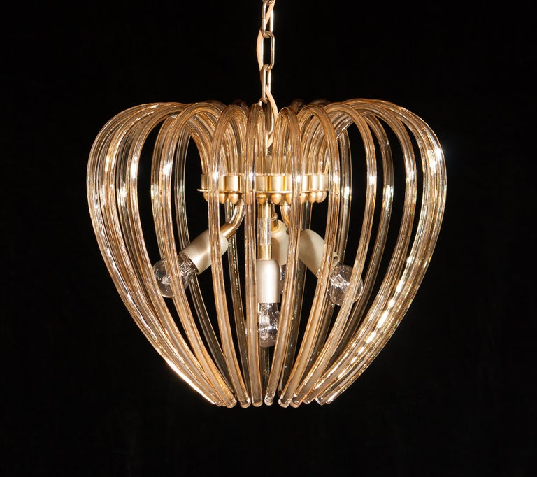 Italy 1960s Partly Gilded and Brass and Crystal Venini Murano Pendant Chandelier For Sale 4