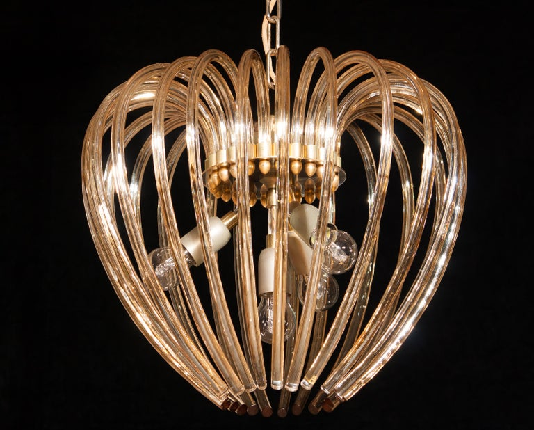 Italy 1960s Partly Gilded and Brass and Crystal Venini Murano Pendant Chandelier For Sale 5