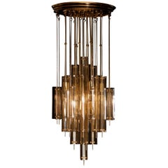 1960s Brass, Metal and Fumé Glass Chandelier in the Manner of Verner Panton