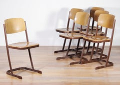 1950s, Metal and Wood Set of Six Dutch School Chairs