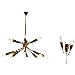 1950s, Italian Sputnik Chandelier with Wall Light