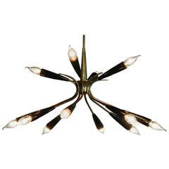 1950s, Italian Brass and Bakelite Sputnik Chandelier