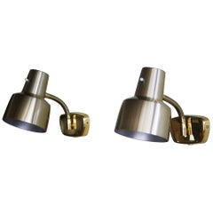 1960s, a Pair of Brass Wall Lights by Armaturhantverk Tibro, Sweden