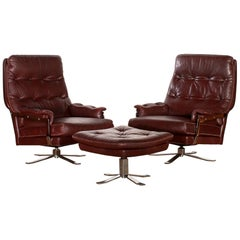1960s, Chrome and Leather Swivel Lounge Chairs and Ottoman by Arne Norell
