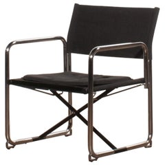 1970s, Canvas and Chrome Black Folding Chair by Börge Lindau & Bo Lindecrantz