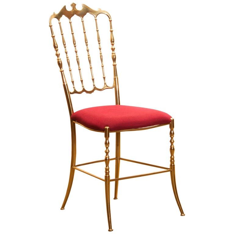 1950s, Brass and Velvet Chair by Chiavari, Italy