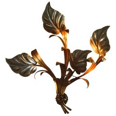 1960s, Beautiful Large Floral Italian Wall Light