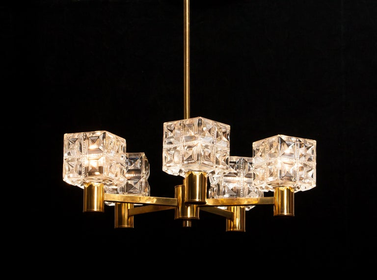 Swedish 1950s, Brass and Glass Chandelier by Tyringe Konsthantverk, Sweden For Sale