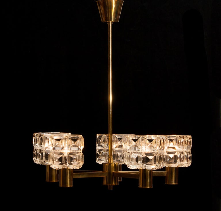 Mid-20th Century 1950s, Brass and Glass Chandelier by Tyringe Konsthantverk, Sweden For Sale