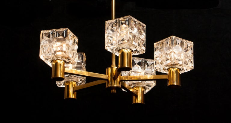1950s, Brass and Glass Chandelier by Tyringe Konsthantverk, Sweden For Sale 1