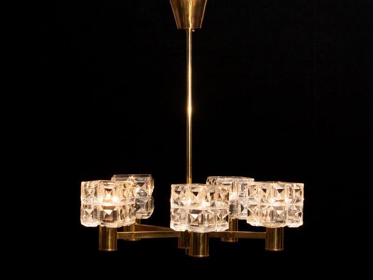 1950s, Brass and Glass Chandelier by Tyringe Konsthantverk, Sweden For Sale 3