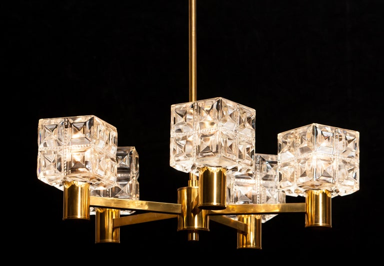 1950s, Brass and Glass Chandelier by Tyringe Konsthantverk, Sweden For Sale 5