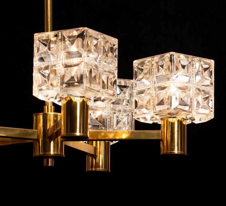 1950s, Brass and Glass Chandelier by Tyringe Konsthantverk, Sweden For Sale 7