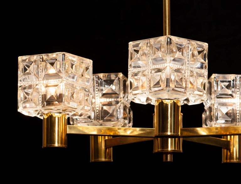 1950s, Brass and Glass Chandelier by Tyringe Konsthantverk, Sweden For Sale 9