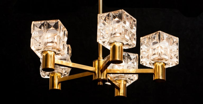 1950s, Brass and Glass Chandelier by Tyringe Konsthantverk, Sweden For Sale 11