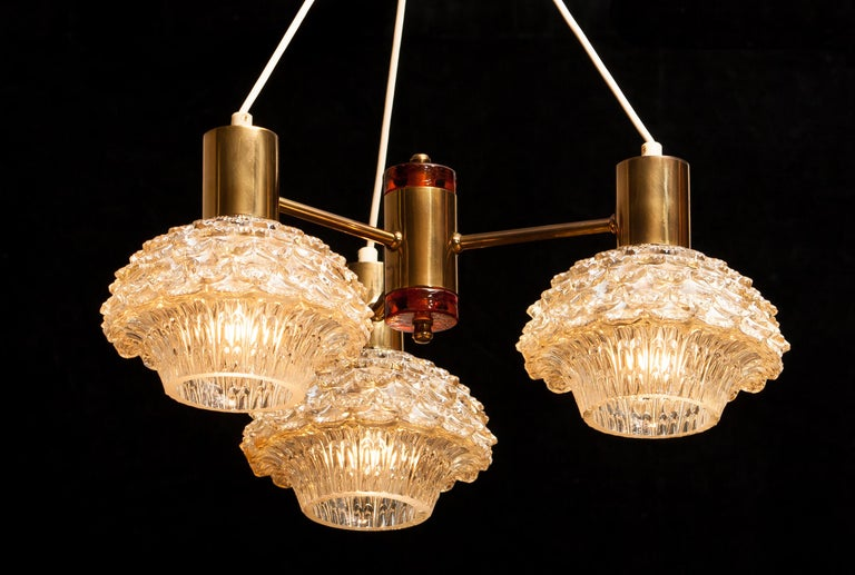 Mid-20th Century 1950s, Brass and Glass Chandelier by Carl Fagerlund for Orrefors For Sale