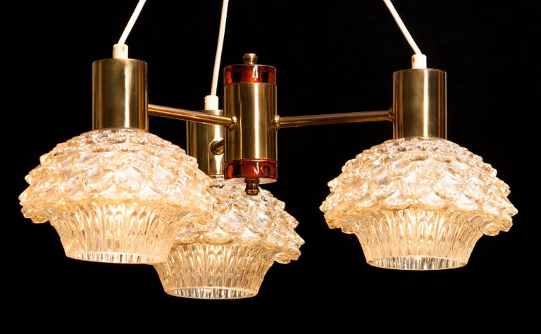 1950s, Brass and Glass Chandelier by Carl Fagerlund for Orrefors For Sale 1