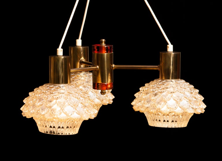 1950s, Brass and Glass Chandelier by Carl Fagerlund for Orrefors For Sale 2